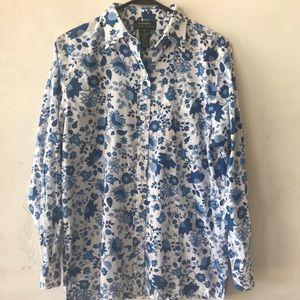 Ralph Lauren Blue Floral Collared Shirt M